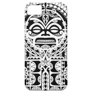 Tribal Polynesian Tiki Mask Tattoo Design Phone | Tablet | Laptop ...