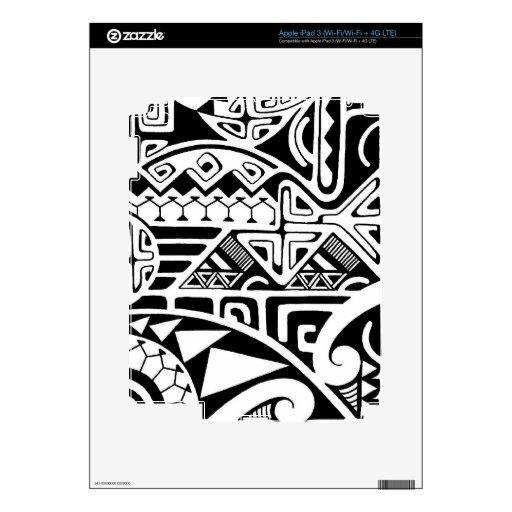 """Polynesian tribal """"The Rock"""" tattoo design Skin For iPad 3"""