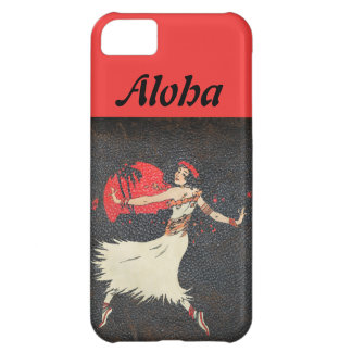 Polynesian Vintage Hula Dancer Distressed Leather iPhone 5C Cover
