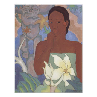 'Polynesian Woman and Tiki' - Arman Manookian Poster