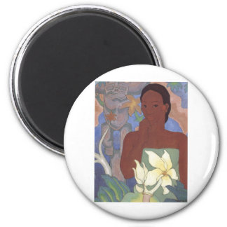 Polynesian Woman and Tiki by Arman Manookian, 1929 2 Inch Round Magnet