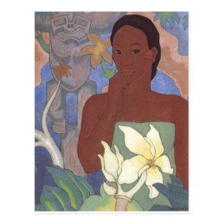 Polynesian Woman and Tiki by Arman Manookian, 1929 Postcard