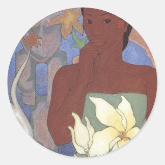 Polynesian Woman and Tiki by Arman Manookian, 1929 Stickers