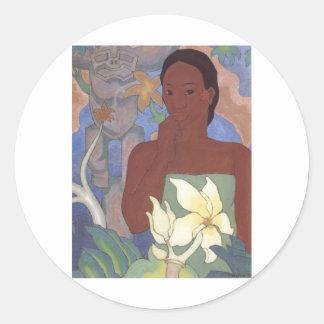 Polynesian Woman and Tiki by Arman Manookian, 1929 Round Stickers