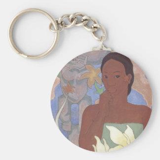 'Polynesian Woman and Tiki' - Keychain