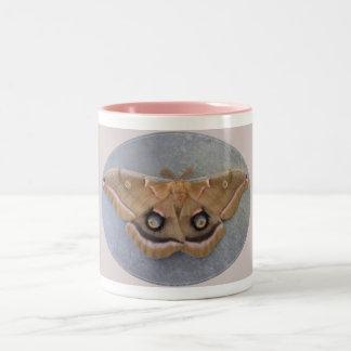 Polyphemus Moth Two-Tone Mug/Pink Two-Tone Coffee Mug