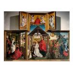 Polyptych con la natividad de Rogier van Weyden Tarjetas Postales