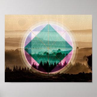 Polyscape landscape art poster