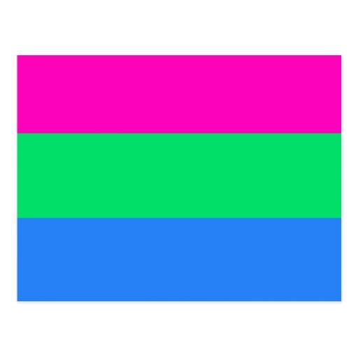 Polysexual pride flag postcard