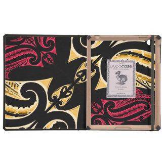 Polytat maorí tribal rojo amarillo del dibujo del iPad fundas