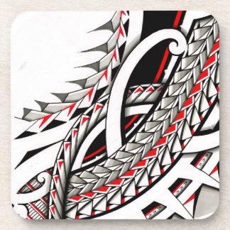 polytat tribal tatau spearhead red warrior symbols coasters
