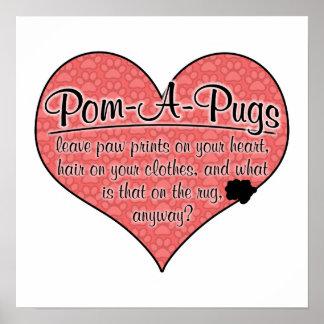 Pom-A-Pug Paw Prints Dog Humor Posters