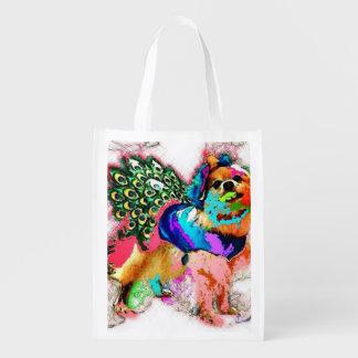 Pom es un pavo real blanco bolsas para la compra