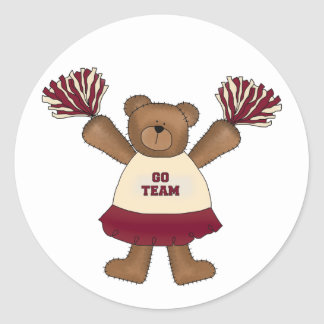 Pom Pom Cheerleader Bear Tshirts and Gifts Classic Round Sticker