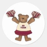 Pom Pom Cheerleader Bear Tshirts and Gifts Classic Round Sticker