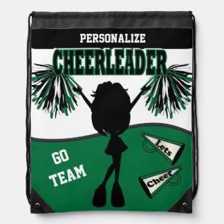 Pom Pom Cheerleader | Dark Green White Black Drawstring Backpack
