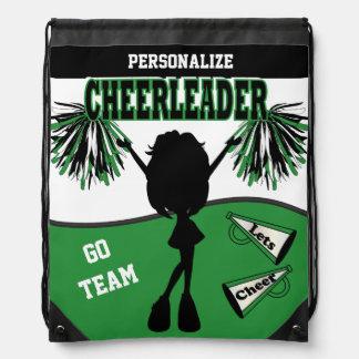 Pom Pom Cheerleader | Green White Black Drawstring Backpack