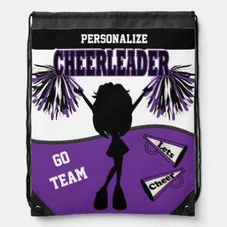 Pom Pom Cheerleader in Purple, White & Black Drawstring Backpack