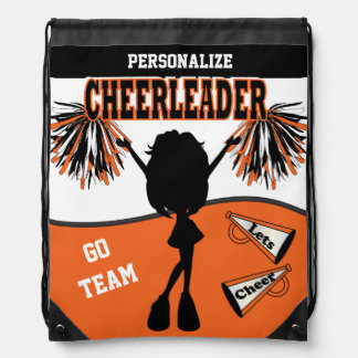Pom Pom Cheerleader | Orange White Black Drawstring Backpack