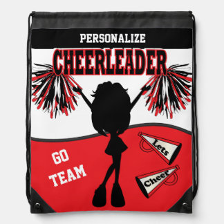 Pom Pom Cheerleader  | Red, White, Black Drawstring Bag
