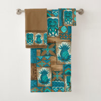 Pomaikai Tiki Hawaiian Tapa Coordinate - Brown Bath Towel Set