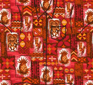 7a10532cc Pomaika'i Tiki Hawaiian Vintage Tapa Aloha Shirt Ornament