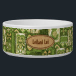 """Pomaika'i Tiki Hawaiian Vintage Tapa Bowl<br><div class=""""desc"""">Olive green, moss green, soft gold, tan and natural colorway. It is &quot;good fortune&quot; to have the Tiki God Ku protect you. We have surrounded him with pineapples, tribal staffs, graphic flowers and tapa elements in this whimsical design that is reminiscent of the Aloha shirt designs of the forties and...</div>"""