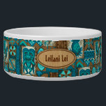 """Pomaika'i Tiki Hawaiian Vintage Tapa Bowl<br><div class=""""desc"""">Teal, turq, aqua, cocoa and natural colorway. It is """"good fortune"""" to have the Tiki God Ku protect you. We have surrounded him with pineapples, tribal staffs, graphic flowers and tapa elements in this whimsical design that is reminiscent of the Aloha shirt designs of the forties and fifties. There are...</div>"""