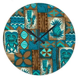 Pomaika'i Tiki Hawaiian Vintage Tapa Large Clock