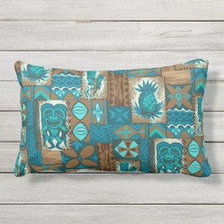 Pomaika'i Tiki Hawaiian Vintage Tapa Outdoor Outdoor Pillow