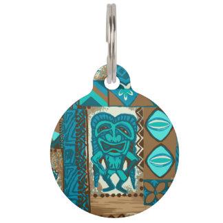Pomaika'i Tiki Hawaiian Vintage Tapa Pet Name Tag