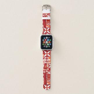 Pomaika'i Tiki Hawaiian Vintage Tapa -Red Apple Watch Band