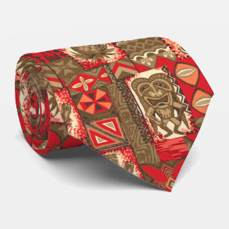 Pomaika'i Tiki Hawaiian Vintage Tapa Two-Sided Neck Tie