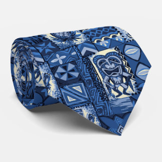 Pomaika'i Tiki Hawaiian Vintage Tapa Two-Sided Tie