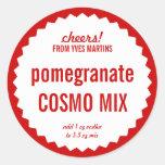 Pomegranate Cosmopolitan Mix Bottle Label Template Classic Round Sticker