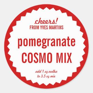 Pomegranate Cosmopolitan Mix Bottle Label Template Sticker
