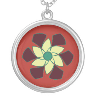 Pomegranate Crescent Spiral Flower Mandala Silver Plated Necklace