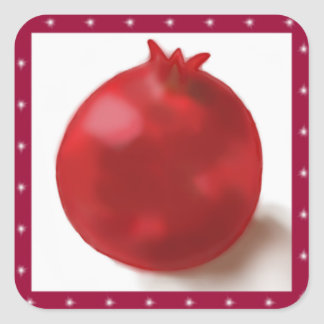 Pomegranate Cute Red drawing Square Sticker