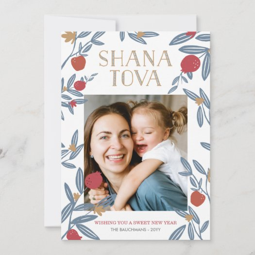 Pomegranate Florals Rosh Hashanah Photo Card