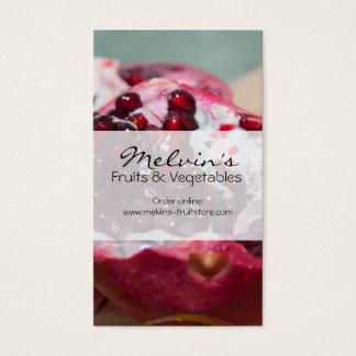 Pomegranate fruit grenadine store red business card