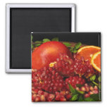 Pomegranate, Orange and Mint 2 Inch Square Magnet