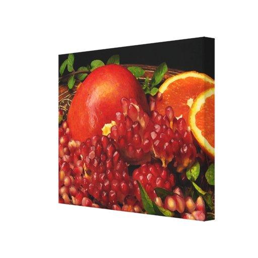 Pomegranate, Orange and Mint Canvas Print