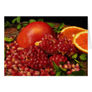 Pomegranate, Orange and Mint Greeting Card