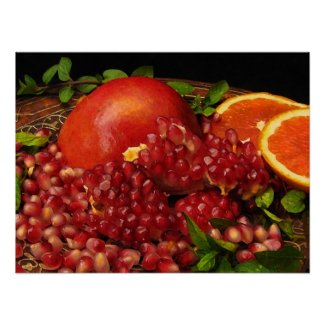 Pomegranate, Orange and Mint Posters