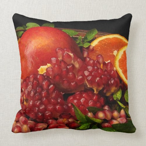 Pomegranate, Orange and Mint Throw Pillow