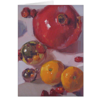 """Pomegranate Orange Christmas"" Blank Holiday Art C Greeting Card"