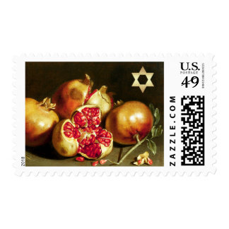 Pomegranate Painting & Star of David Postage Stamp