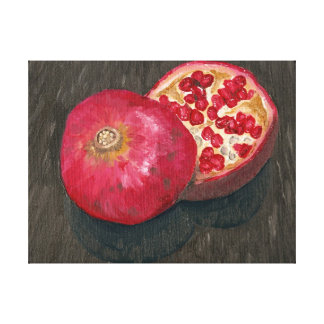 Pomegranate Sliced Oil Painting Canvas Print