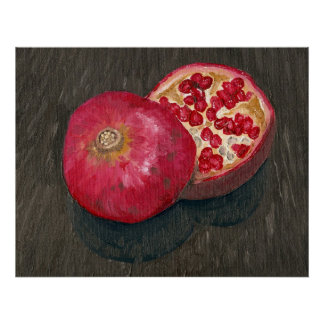 Pomegranate Sliced Oil Painting Poster