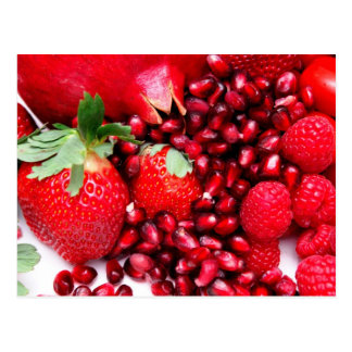 Pomegranate Strawberries And Raspberries Postcard